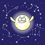 Luna e costellazioni nel cielo notturno Fotografia Stock Libera da Diritti