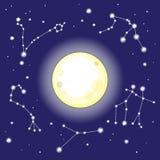 Luna e costellazioni nel cielo notturno Immagine Stock