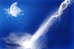 Luna e flash Fotografia Stock