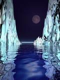 Luna e hielo surrealistas Foto de archivo libre de regalías