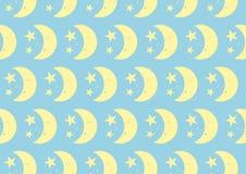 Luna e motivo a stelle svegli felici sul fondo di colore pastello Immagini Stock Libere da Diritti