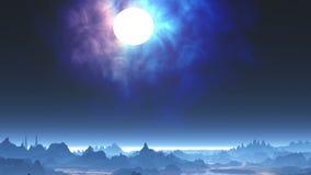 Luna e nebulosa luminose illustrazione vettoriale