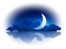Luna e nubi Immagine Stock