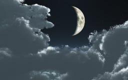 Luna e nubi Fotografie Stock