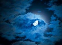Luna e nuvole Fotografie Stock Libere da Diritti