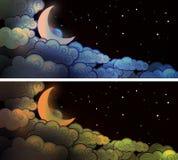 Luna e nuvole Immagini Stock