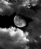 Luna e nuvole Fotografia Stock
