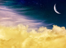 Luna e nuvole di fantasia Immagine Stock Libera da Diritti