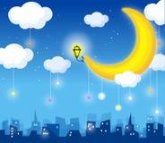 Luna e orizzonte Immagini Stock