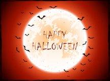 Luna e pipistrelli su fondo arancio Fotografia Stock Libera da Diritti