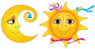 Luna e sole. illustrazione vettoriale