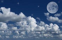 Luna e stelle Immagini Stock Libere da Diritti