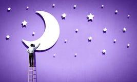 Luna e stelle Fotografia Stock Libera da Diritti