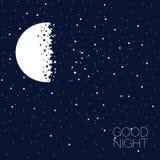 Luna e stelle Buona notte Idea di concetto Immagini Stock