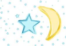 Luna e stelle del bambino Fotografie Stock
