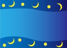 Luna e stelle del fondo Immagini Stock Libere da Diritti