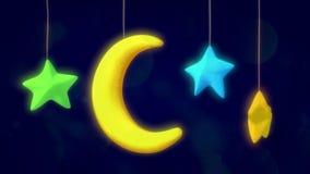 Luna e stelle del giocattolo stock footage