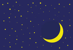 Luna e stelle e cielo fotografia stock libera da diritti