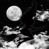 Luna e strega Fotografia Stock Libera da Diritti