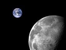 Luna e terra Fotografie Stock