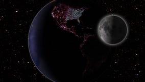 Luna e terra nella galassia dello spazio con le stelle nel fondo illustrazione di stock