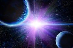 Luna e terra nello spazio Immagine Stock