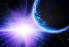 Luna e terra nello spazio Fotografia Stock Libera da Diritti