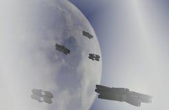 Luna e veicolo spaziale Fotografie Stock Libere da Diritti