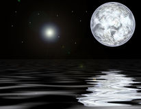 Luna ed acqua Immagine Stock