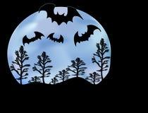Luna ed alberi dei blocchi royalty illustrazione gratis