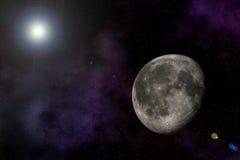 Luna en universo Imagen de archivo libre de regalías
