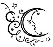 Luna, estrellas, cielo stock de ilustración