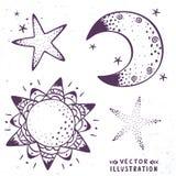 Luna, estrellas, sol libre illustration