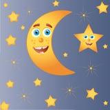 Luna felice con la stella Immagine Stock