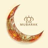 Luna floral brillante para la celebración de Eid Mubarak Foto de archivo