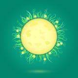 Luna gialla e blocco per grafici floreale illustrazione vettoriale