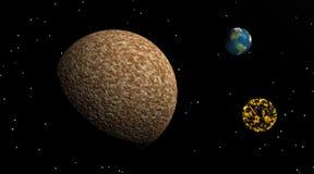 Luna grande, pequeña tierra y nebulosa stock de ilustración