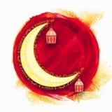 Luna hermosa con las lámparas para los festivales islámicos Foto de archivo libre de regalías