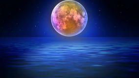 Luna hermosa en el mar, fondo video del mejor lazo para relajarse y el calmar libre illustration