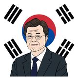 Luna Jae-en presidente del ejemplo surcoreano del retrato con el fondo de la bandera, diseño plano del vector