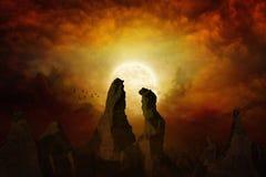 Luna Llena amarilla de levantamiento Foto de archivo libre de regalías