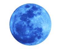 Luna Llena azul aislada en el fondo blanco con la trayectoria de recortes Fotografía de archivo libre de regalías