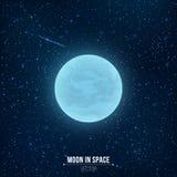 Luna Llena azul que brilla intensamente en espacio Estrella el caer Muchas estrellas luminosas Espacio realista stock de ilustración