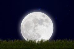 Luna Llena con las estrellas y el campo de la colina verde en el cielo de la oscuridad Foto de archivo