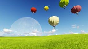 Luna llena 3d de la hierba del paisaje de HD stock de ilustración