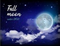 Luna Llena del cielo místico contra la perspectiva de la galaxia y de la vía láctea Noche del claro de luna Nubes realistas brill Foto de archivo libre de regalías