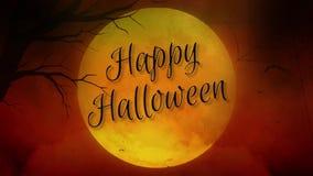 Luna Llena del feliz Halloween en naranja stock de ilustración