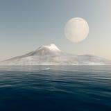 Luna Llena sobre el mar de la montaña ilustración del vector