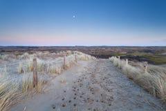 Luna Llena sobre la trayectoria de la arena en dunas Fotografía de archivo