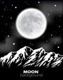 Luna Llena sobre las montañas Paisaje de la noche Fotos de archivo libres de regalías